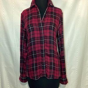 Sam Edelman Red Plaid Roll Sleeve Zip Back Shirt